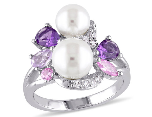 White Freshwater Cultured Pearl Ring with Amethyst, Created Pink & White Sapphire and Rose De France In Sterling Silver