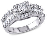 IGI Certified Princess Cut Diamond Engagement Ring 1 3/8 Carat (ctw) in 14K White Gold
