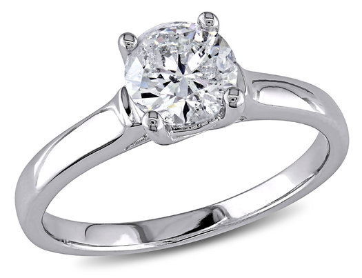 1.00 Carat (ctw I1-I2, G-H) Diamond Solitaire Engagement Ring in 14K White Gold