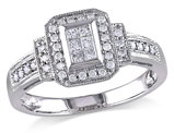 Princess Cut Diamond Engagement Ring 1/3 Carat (ctw Color H-I Clarity I2-I3) in 14K White Gold