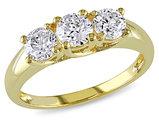 Three Stone Diamond Engagement Ring 1.0 Carat (ctw) in 14K Yellow Gold