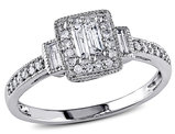 Diamond Engagement Ring 1/3 Carat (ctw Color G-H, Clarity I2-I3) in 10K White Gold