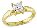 1.00 Carat (ctw J-K, I2-I3) Solitaire Princess Cut Diamond Ring in 14K Yellow Gold