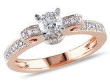 1/2 Carat (ctw G-H, I2-I3) Diamond Engagement Ring 14K Rose Pink Gold