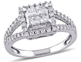 1.0 Carat (ctw Color G-H Clarity I2-I3) Princess Cut Diamond Engagement Ring in 14K White Gold