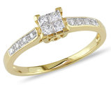 1/4 Carat (ctw G-H, I2-I3) Princess Cut Diamond Engagement Ring in 10K Yellow Gold