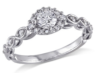 Diamond Halo Vintage Engagement Ring 1/2 Carat (ctw) in 10K White Gold