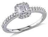3/4 Carat (ctw G-H, I1-I2) Emerald-Cut Diamond Engagement Ring in 14K White Gold