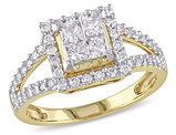 Princess Cut Halo Diamond Engagement Ring 1.0 Carat (ctw Color G-H Clarity I2-I3) in 14K Yellow Gold