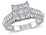 Princess Cut Diamond Engagement Ring 1 1/2 Carat (ctw color Clarity G-H, I2-I3) in 10K White Gold