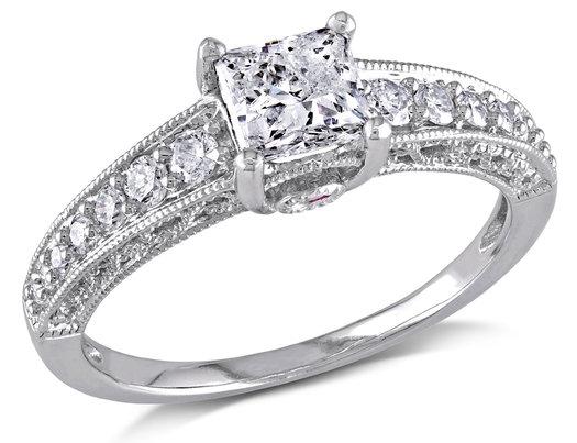 1.00 Carat (ctw G-H, I2-I3) Princess Cut Diamond Engagement Ring in 14K White Gold