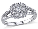 Princess Cut Halo Diamond Engagement Ring 1/2 Carat (ctw Color G-H Clarity I1-I2) in 14K White Gold