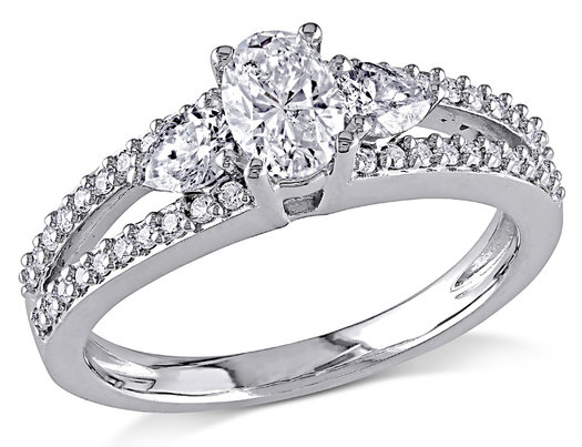 IGI Certified 1.00 Carat (ctw G-H, I1-I2) Diamond Engagement Ring in 14K White Gold