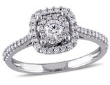 Halo Diamond Engagement Ring 1/2 Carat (ctw Color G-H Clarity I1-I2) in 10K White Gold
