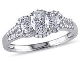 1.00 Carat (ctw G-H Clarity I1-I2) IGI Certified Three Stone Diamond Engagement Ring 14K White Gold
