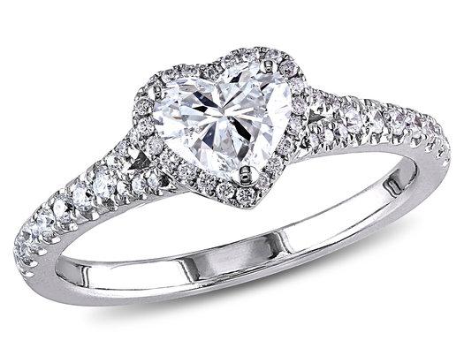 1.00 Carat (ctw I1-I2, G-H) Diamond Halo Heart Cut Engagement Ring in 14K White Gold