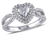 1.00 Carat (ctw G-H, SI2-I1) Heart Diamond Engagement Ring in 14K White Gold - IGI Certified
