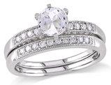 Created White Sapphire 1.0 Carat (ctw) with Diamond 1/3 Carat (ctw) Bridal Wedding Set Engagement Ring 10K White Gold
