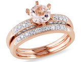 Morganite 4/5 Carat (ctw) with Diamond 1/3 Carat (ctw) Bridal Wedding Set Engagement Ring 10K Pink Gold