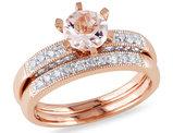 Morganite 4/5 Carat (ctw) with Diamond 1/3 Carat (ctw) Bridal Wedding Set Engagement Ring 10K Pink Gold