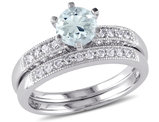 Aquamarine 3/4 Carat (ctw) with Diamond 1/3 Carat (ctw) Bridal Wedding Set Engagement Ring 10K White Gold