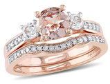 Morganite and Created White Sapphire 1 1/7 Carat (ctw) with Diamond Bridal Wedding Set Engagement Ring in 10K Pink Gold