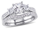 Lab Created White Sapphire 1 1/3 Carat (ctw) with Diamond Bridal Wedding Set Engagement Ring in 10K White Gold