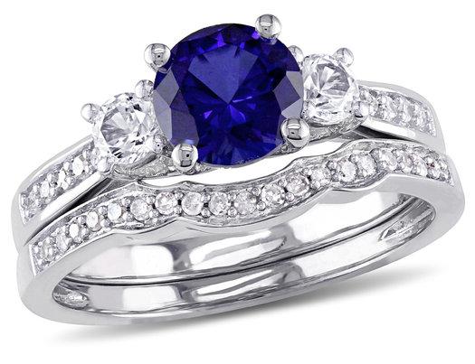 Lab-Created Blue & White Sapphire 1 1/3 Carat (ctw) with Diamond Bridal Wedding Set Engagement Ring 10K White Gold