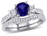 Lab-Created Blue & White Sapphire 1 1/3 Carat (ctw) with Diamond Bridal Wedding Set Engagement Ring 10K White Gold