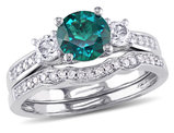 Created Emerald and White Sapphire 1 1/8 Carat (ctw) with Diamond Bridal Wedding Set Engagement Ring 10K White Gold