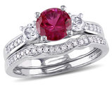 Lab Created Ruby and White Sapphire 1 1/3 Carat (ctw) with Diamond Bridal Wedding Set Engagement Ring 10K White Gold