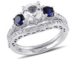 Created White & Created Blue Sapphire 2 Carat (ctw) with Diamond 1/3 Carat (ctw) Engagement Ring and Bridal Wedding Set 10K White Gold