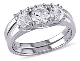 Three Stone Created White Sapphire 1 1/2 Carat (ctw) Engagement Ring and Bridal Wedding Set 10K White Gold