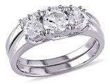 Three Stone Created White Sapphire 1 1/2 Carat (ctw) Engagement Ring and Bridal Wedding Set 10K White Gold