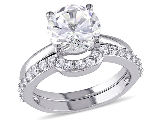 Created White Sapphire 2 4/5 Carat Engagement Ring and Bridal Wedding Set Ring 10K White Gold