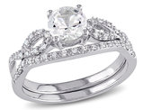 Created White Sapphire 1.0 Carat (ctw) with Diamond 1/7 Carat (ctw), Engagement Ring and Bridal Wedding Set 10K White Gold