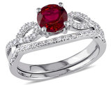 Created Ruby 1.0 Carat (ctw) Engagement Ring and Bridal Wedding Set with Diamond, 10K White Gold