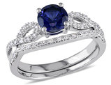 Created Blue Sapphire 1.0 Carat (ctw) Engagement Ring and Bridal Wedding Set with Diamond, 10K White Gold