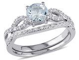 3/4 Carat (ctw) Aquamarine Engagement Ring & Wedding Band Set with Diamond, 10K White Gold