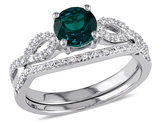 Created Emerald 4/5 Carat (ctw) with Diamond, Engagement Ring and Bridal Wedding Set 10K White Gold