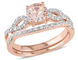 4/5 Carat (ctw) Morganite Engagement Ring and Bridal Wedding Set 10K Pink Gold