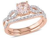 4/5 Carat (ctw) Morganite Engagement Ring and Bridal Wedding Set 10K Pink Gold
