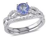 1.00 Carat (ctw) Tanzanite Engagement Ring & Wedding Band in 10K White Gold with Diamonds
