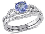 Tanzanite 1 Carat (ctw) Infinity Engagement Ring and Bridal Wedding Set 10K White Gold