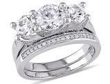 Created White Sapphire 2 5/8 Carat (ctw) Three Stone Engagment Ring Bridal Wedding Set with Diamond 10K White Gold