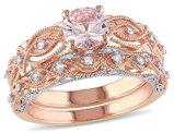 Morganite 4/5 Carat (ctw) with Diamond Engagement Ring Bridal Wedding Set Ring 10K Pink Gold