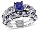 Created Blue Sapphire 1 3/4 Carat (ctw) Engagement Ring and Bridal Wedding Set 10K White Gold Rhodium Plated