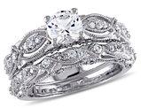 1 3/4 Carat (ctw) Lab Created White Sapphire with Diamond Engagement Ring Bridal Wedding Set 10K White Gold