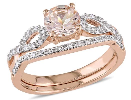 Morganite Wedding Set.Morganite 4 5 Carat Ctw With Diamond Engagement Rings Bridal Wedding Set Ring 10k Pink Gold