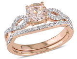 Morganite 4/5 Carat (ctw) with Diamond Engagement Rings Bridal Wedding Set Ring 10K Pink Gold